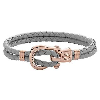 Paul Hewitt Ph-FSH-L-R-GR Bracelet - Steel IP Rose PHINITY SHACKLE Leather Grey Women