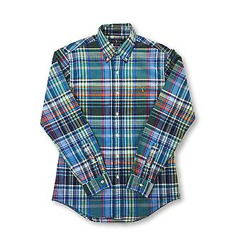 Ralph Lauren slim fit cotton casual shirt in green/blue/multi check