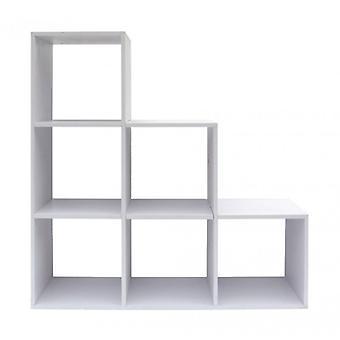 Meubilair Rebecca plank kubussen moderne bibliotheek MDF wit 6 compartimenten 97,5 x 97,5 x29