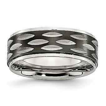Stainless Steel Polished Black Ip plated 8mm Grooved Ring  Jewelry Gifts for Women - Ring Size: 8 to 12