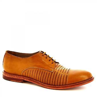 Leonardo Zapatos Hombres's zapatos oxford con cordones hechos a mano piel de becerro ocre