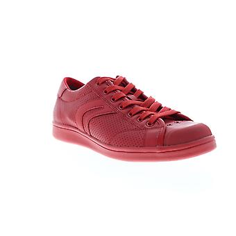 Geox U Warrens Mens Red Leather Low Top Lace Up Euro Sneakers Shoes
