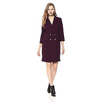 Calvin Klein Women's Solid Three Quarter Sleeve Coat Dress, Aubergine, 2