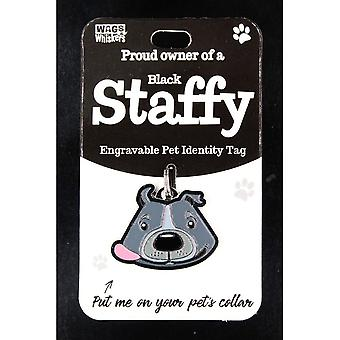 Wags & Whiskers Pet Identity Tag - Staffy Black