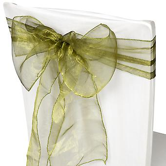 17cm x 274cm Organza Table Runners Wider et Fuller Sashes Vert Olive