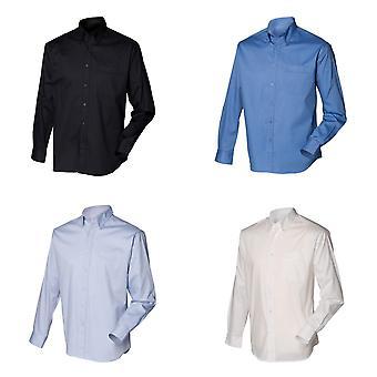 Henbury Mens Long Sleeve Oxford Work Shirt