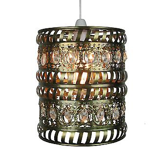 Moroccan Pendant Shade - Clear Jewels & Antique Brass