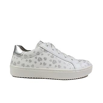 Superfit 09488-11 Multi Coloured/White Leather Girls Zip/Lace Up Casual Trainer Shoes