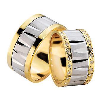 Fantasy wedding rings with double row of diamonds