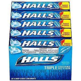 Halls cough drop lozenges, mentho-lyptus, 9 drops x 20 ea
