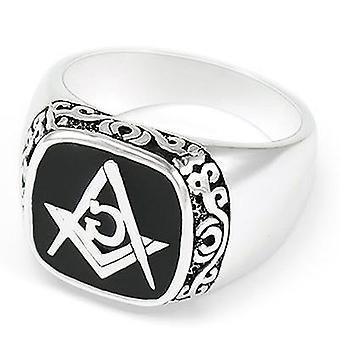 Meister Maurer klassischen Motiv Freimaurer Ring [schwarz blau rot]
