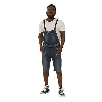 Pantaloncini da uomo in denim bib denim - blu