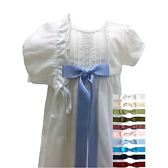 Cotton Christening Gown For Babys With Bonnet And 10 Choises Of Bow Colour - Grace Of Sweden