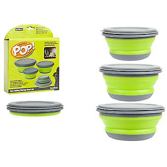 Summit Pop 3 Piece Bowl Set Green and Grey Collapsible Travel Storage Camping