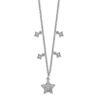 925 Sterling Silver Rhodium plated CZ Cubic Zirconia Simulated Diamond Stars With 2inch Ext. Pendant Necklace 16 Inch Je