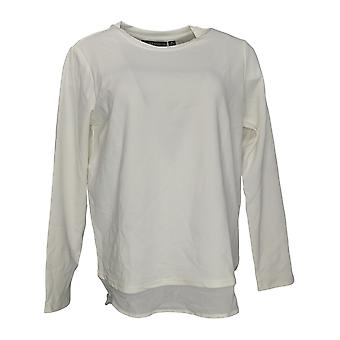 BROOKE SHIELDS Timeless Womens Top Mixed Media Long Sleeve Ivory A342023 PTC