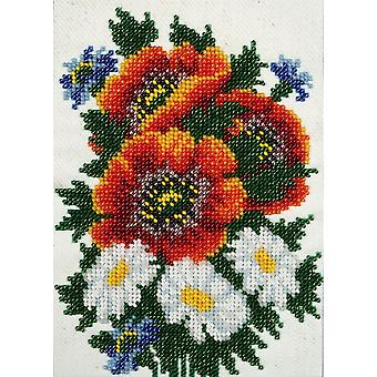 VDV Bead Embroidery Kit - Poppies and Chamomiles