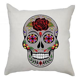 Sugar Skull Cushion Cover 40cm x 40cm Grey