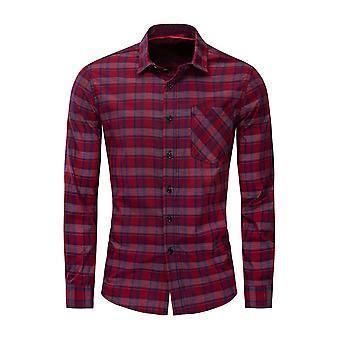 Allthemen الرجال & apos;ق القطن Lapel عارضة الاختيار جيب طويل الأكمام قميص الأعلى