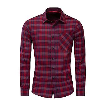 Allthemen Men's Cotton Lapel Casual Check Pocket Long Sleeve Shirt Top