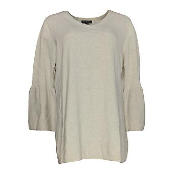 H By Halston Women's Top V Neck Bell Sleeve Sweater Tunic Beige A297074