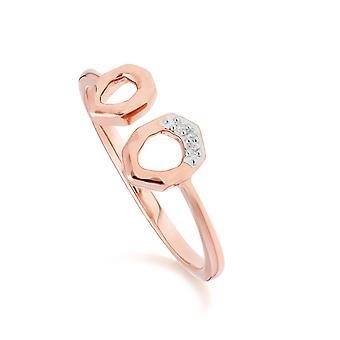 Diamant asymmetrische offene Ring in 9ct Rose Gold 191R0905019