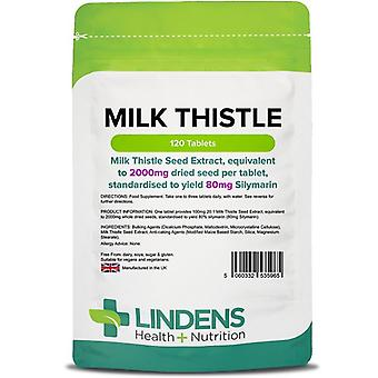 Lindens Milk Thistle Seed Extract 100mg (2000mg eq) Tablets 120 (5965)