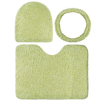 YANGFAN 3-Pcs Set Solid Color Polyester Toilet Mat