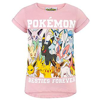 Pokemon T-Shirt Girls | Kids Besties Forever Pikachu Evee Characters Top | Children's Gamer Tee Gift