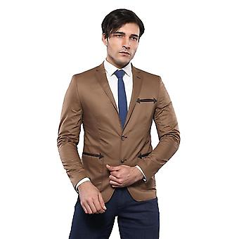 Two buttons slim fit brown blazer