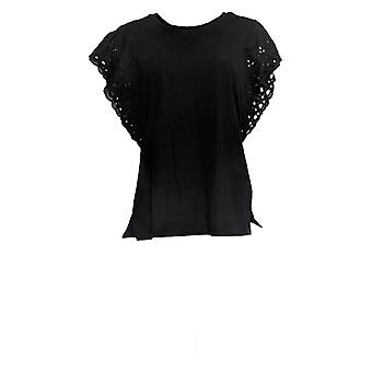 Belle by Kim Gravel Women's Top Flutter Sleeve Lace Trim Black A351613