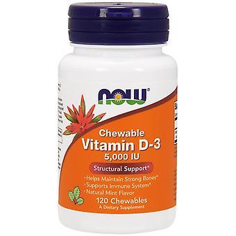 Now Foods, Chewable Vitamin D-3, Natural Mint Flavor, 5,000 IU, 120 Chewables