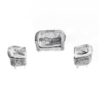 01:30 Miniatur Puppenhaus Sofa Möbel Dekoration grau