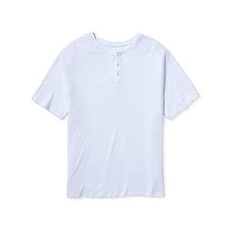 Essentials Herre Stor & Høy Kortermet Slub Henley T-skjorte passform av DXL, Hvit, 3XL