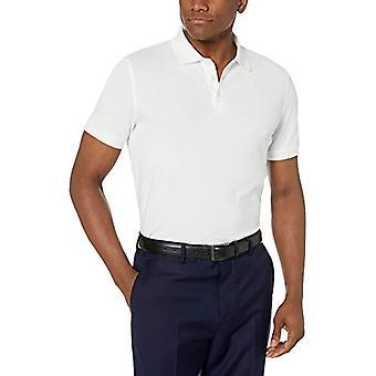 BUTTONED DOWN Men's Slim-Fit Supima Cotton Stretch Pique Polo Shirt, White, X-Small