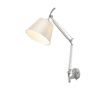 Inspireret Deco - Karis - Justerbar Switched Wall Light 1 Light E27 Silver, Poleret Chrome c, w Cream Pearl Shade
