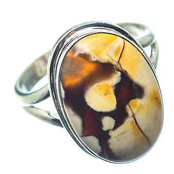 Peanut Wood Jasper Ring Size 9 (925 Sterling Silver)  - Handmade Boho Vintage Jewelry RING26389
