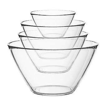 Bormioli Rocco 4pc Basic Glass Kitchen Mixing Bowl Set - Bowls for Preparation and Service - 4 Sizes