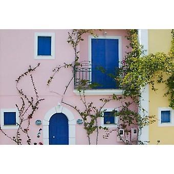 Vacation Villa Detail Assos Kefalonia Ionian Islands Greece Poster Print by Walter Bibikow