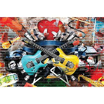 Wallpaper Mural Collage Of Music And Color (400x260 cm)