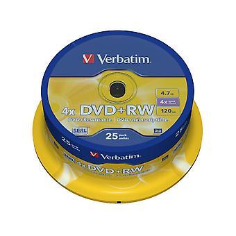 Verbatim 43489 4.7gb 4x matt silver dvd+rw - 25 pack spindle single