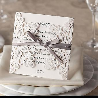 10 Ribbon and Lace Laser Cut Wedding Invitations
