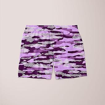 Paarse camouflage patroon mozaïek stijl plakat shorts
