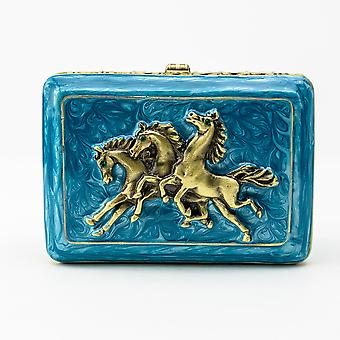 Turquoise Decorated Trinket Box With Horses