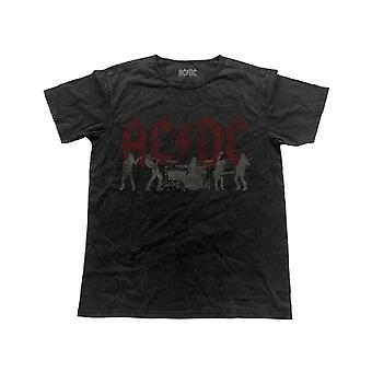 AC/DC-T-Shirt-Bandlogo Silhouetten neue offizielle Mens Vintage Finish Black