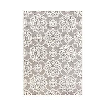 5'x8' Grey Ivory Floral Machine Woven Polypropylene Area Rug