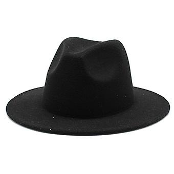 All-match Wide Brim Fedora Hat Solid Color Wool Felt Men Autumn Winter Panama