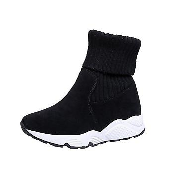 Women Snow Boots Flock Stretch Sock, Breathable Platform Plush Fur Warm Shoes