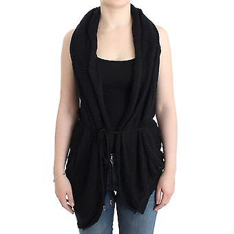 Black sleeveless knitted cardigan