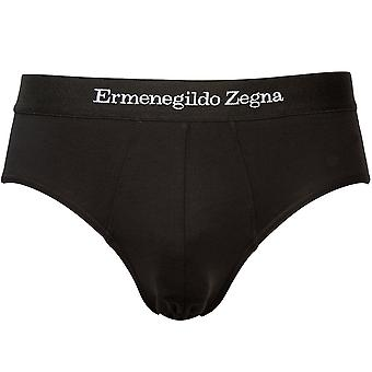 Ermenegildo Zegna Stretch Cotton Midi Brief, Preto